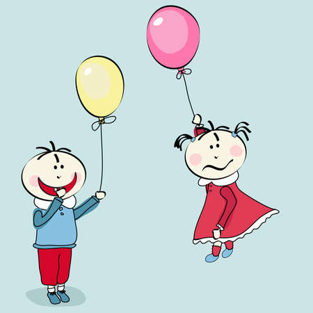 despondent: happy little boy and little girl flying with the balloon Illustration