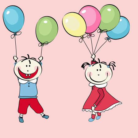 face painting: happy little boy and little girl flying with the balloons