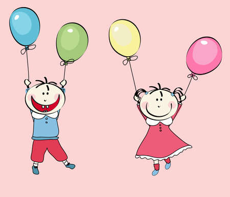 happy little boy and little girl flying with the balloons