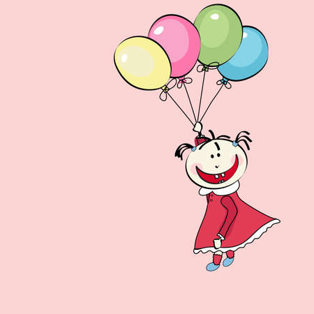 despondent: happy little girl flying with the balloons Illustration