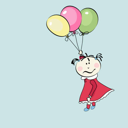 little girl flying with the balloons Vector