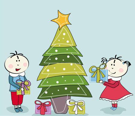 little girl, little boy and Christmas Tree Vector