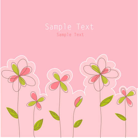 green day baby blue background: floral card Illustration