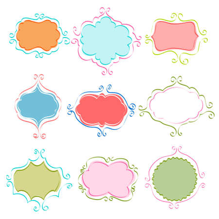 cute border: set of vintage frames Illustration
