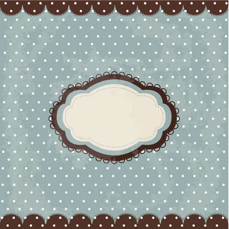 Vintage polka dot design, brown frame Vector