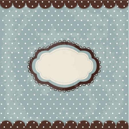 Vintage polka dot design, brown frame Vector