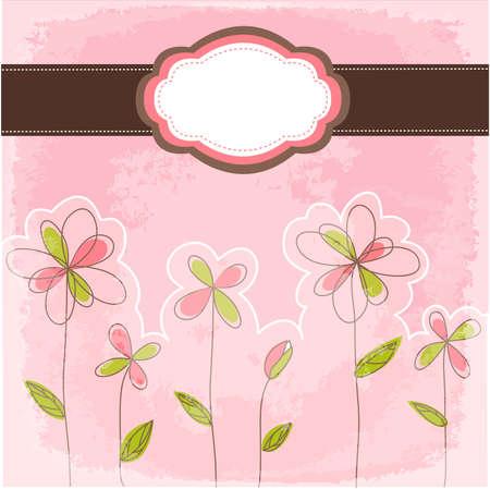 vintage floral card with frame Stock Illustratie