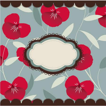millésime carte floral avec cadre