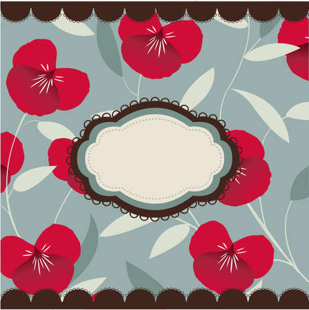 vintage floral card with frame Vector