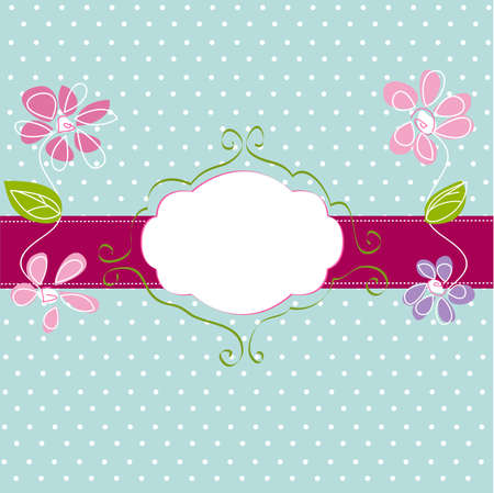 polka dot wallpaper: vintage frame background Illustration