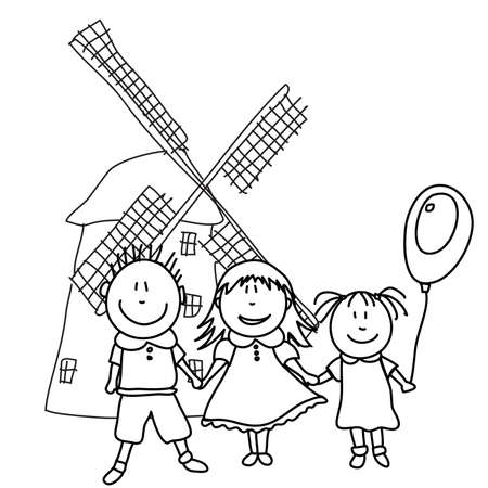 hair black color: happy kids and wind mill Illustration