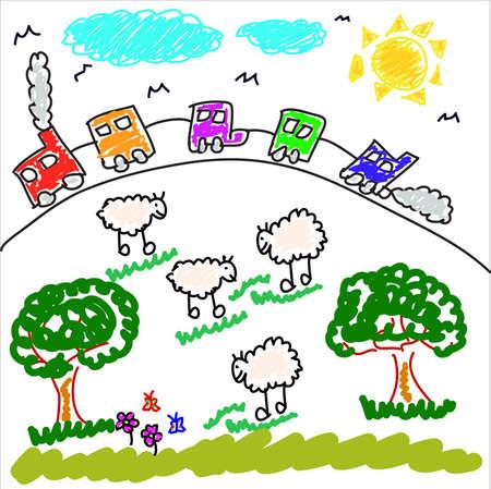 Children's drawing Stock Illustratie