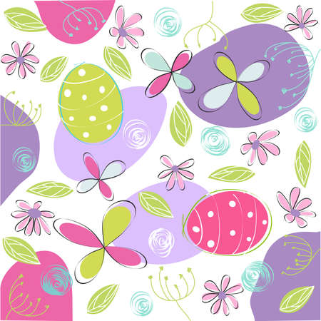floral, easter card Vector