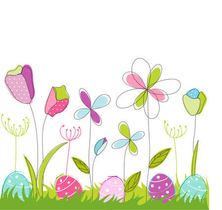cartoon spring: floral, easter greeting card