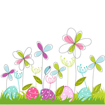 cartoon easter: floral, easter greeting card