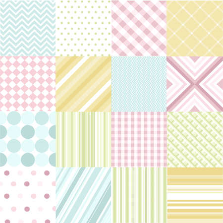 polka dots: seamless patterns with fabric texture Illustration