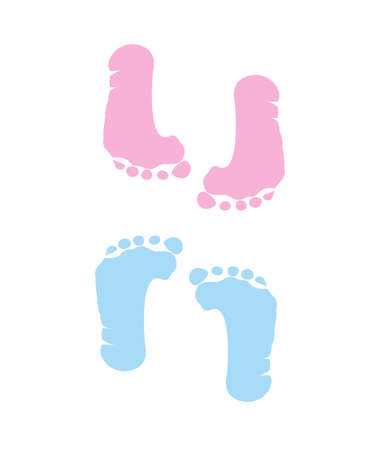 foot girl: footprint of girl and boy
