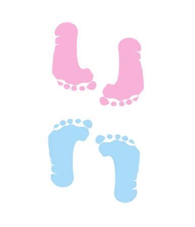 pied fille: l'empreinte de la jeune fille et un garçon