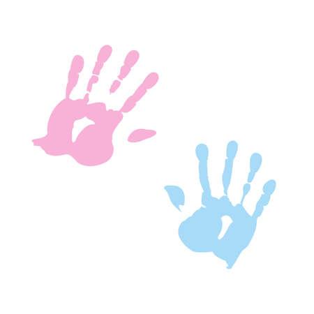 empreinte de main: handprint de fille et gar�on