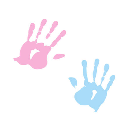 indent: handprint of girl and boy