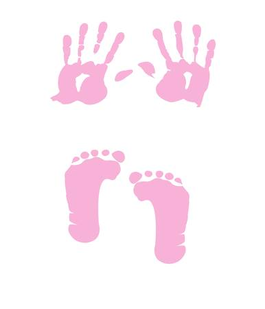 baby girl handprint - footprint Vector