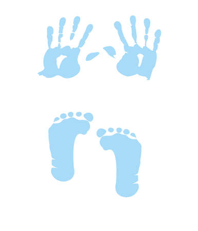 baby boy handprint - footprint Vector