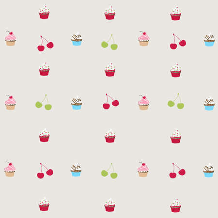 seamless pattern with decorated cupcakes  Vector