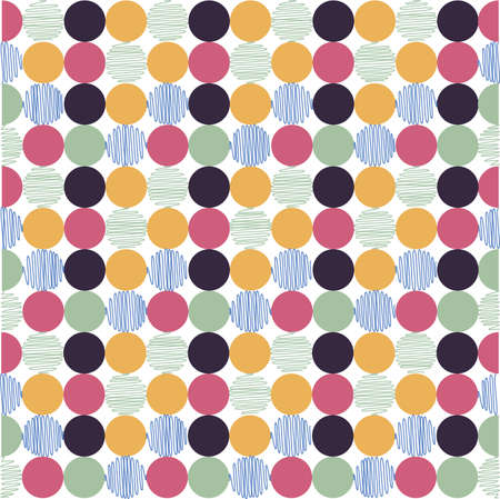 patchwork: seamless pattern, polka dot fabric, wallpaper Illustration