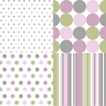 listras: seamless patterns, polka dots  Ilustração