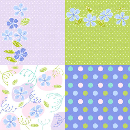 seamless patterns with floral fabric texture Vector