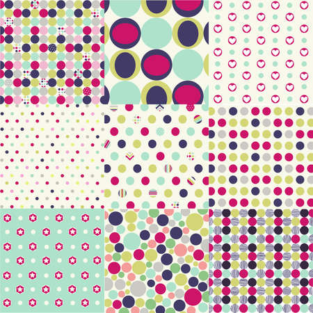 seamless patterns, polka dot set Vectores