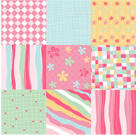 seamless patterns with fabric texture 矢量图像