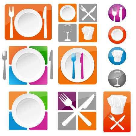master chef: restaurant icons Illustration