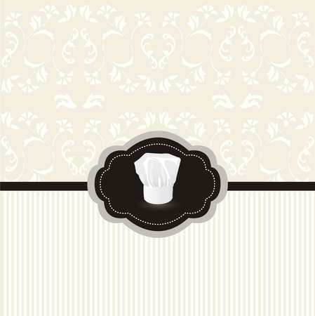 coffee company: Vintage design card with chef hat frame Illustration