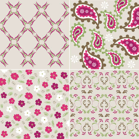 seamless plant patterns with fabric texture Vector