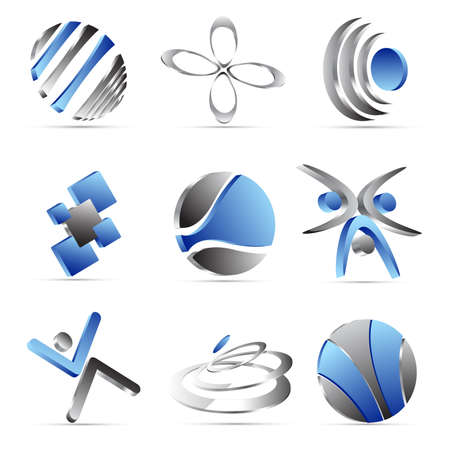 oval: blue business icons design