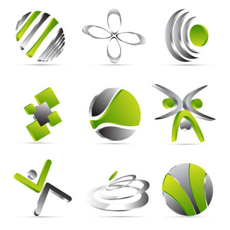 new company: green business icons design