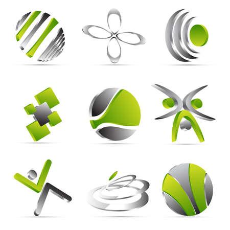 figure logo: Iconos de negocios verdes dise�o Vectores