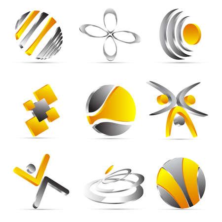 yellow business icons design Stock Illustratie