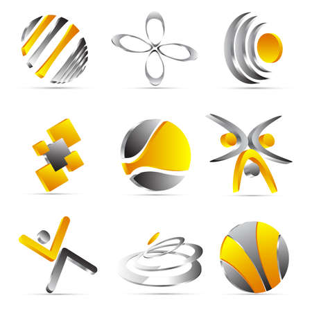 yellow business icons design Vectores
