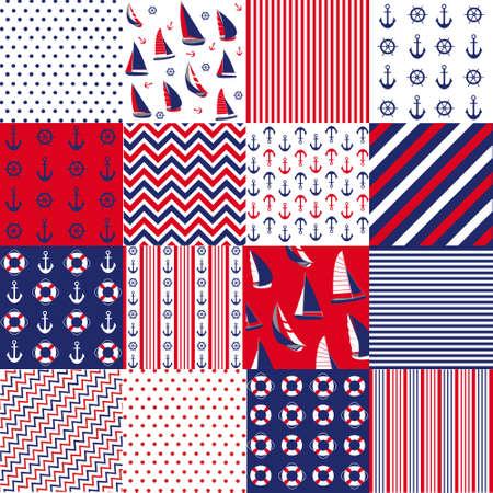 roer: Naadloos patroon met nautische elementen Stock Illustratie