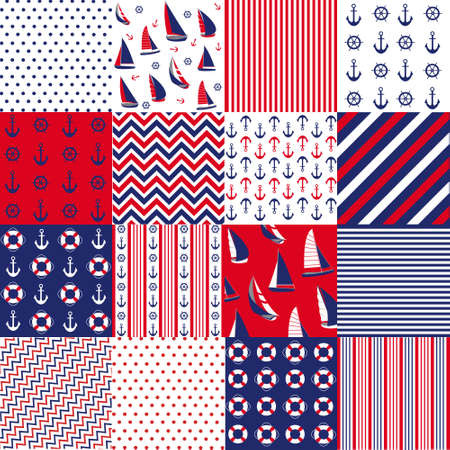 anchors: Seamless pattern with nautical elements Illustration