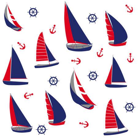 barca a vela: Seamless pattern con elementi nautici