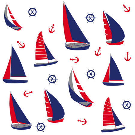 sailing yacht: Seamless pattern with nautical elements Illustration