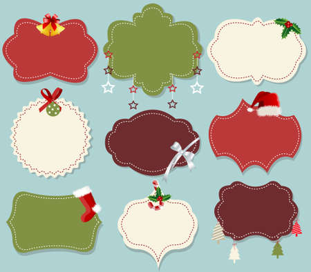Vintage christmas label banner set Stock Vector - 16910847