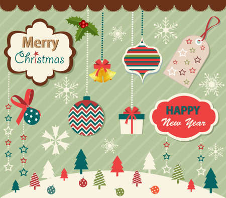 Set of Christmas and New Year elements Stock Vector - 16910830