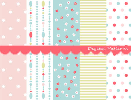 Digital patterns, scrapbook set Illustration