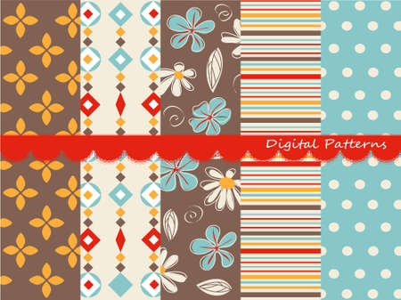 digital art: Digital patterns, scrapbook set Illustration