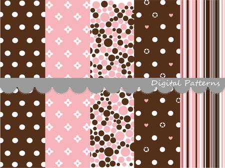 Digital patterns, scrapbook set Vector