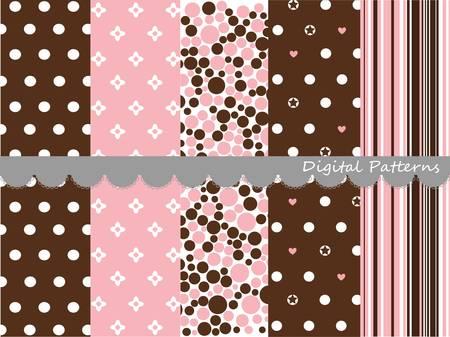 pink brown: Digital patterns, scrapbook set Illustration